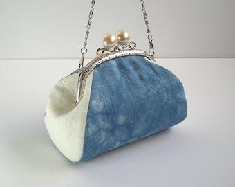 Blue Clutch Purse, Shibori Clutch Purse, Hand Dyed Indigo Clutch, Shibori Hand Dye Clutch, Tie Dye Clutch Purse, Natural Indigo Bag