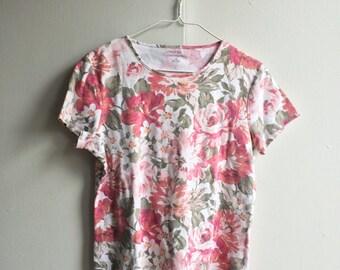 Flower Print Plains Band T w/ Pink Screen Print! (Free shipping!)