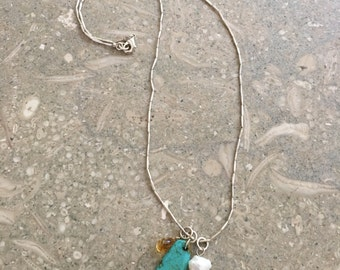 Southwestern Turquoise Sterling Silver Pearl Necklace