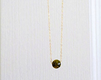 Green Jasper Necklace Minimal Natural Stone Wedding Jewelry Forest Bridesmaid Jewellery Gift Garden Wedding Necklace Gold and Green