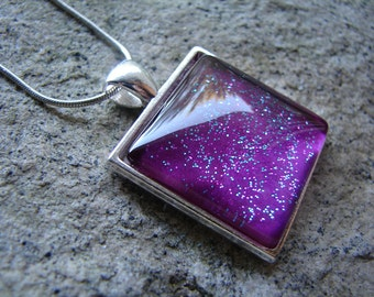 Purple Passion Pendant Glitter Necklace|Hand Painted Glass Jewelry|Square Glass Pendant|Purple Hand Painted Jewelry|Newfoundland Pendant