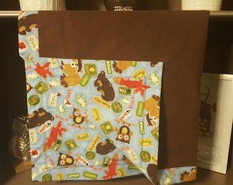 Woodland Flannel with Dark Brown Flannel Blanket