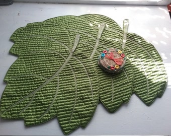 Vintage Quilted Leaf Placemats, Set of 3, Plus 3 Wicker Coasters, Island Style, Glligan's Island?