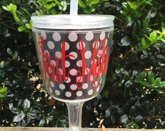 CLEARANCE Personalized Black & White Wine Tumbler with Lid and Straw - Great Wine Acrylic Tumbler for Summer!