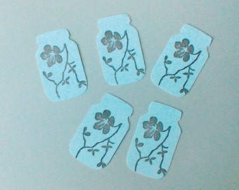 """GIFT TAGS 50 pcs. WHITE. Cardstock 2 3/8""""  mason jar w cherry blossom motif 23sweets/die cut/wedding/party/gift/hang tags/scrapbookpaper"""