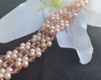 Peach Crystal and Pearl Hand Stitched Bracelet