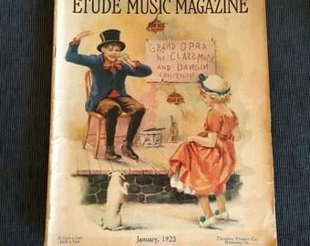 Vintage January 1923 Etude music magazine, full issue