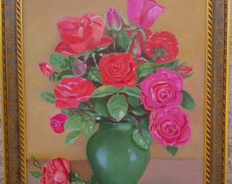 The Green vase - oil painting