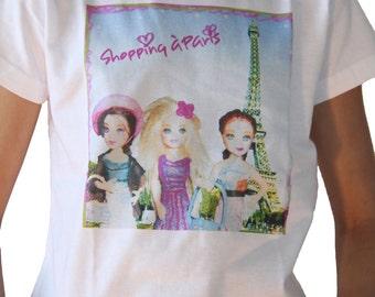 White kids graphic T-shirt design shopping in Paris