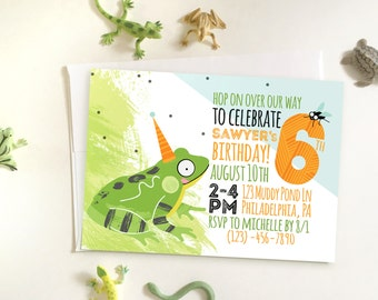 Nature Frog Birthday Party, DIY Printable Invitation