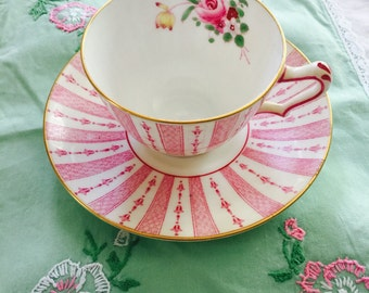 Crown Staffordshire Rare Pink Demitasse Tea Cup and Saucer Vintage