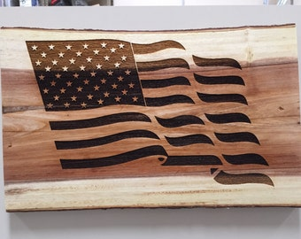 Laser Engraved American Flag, Fourth of July, Memorial Day