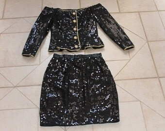 Vintage MORTON MYLES for the Warrens Black Sequin Skirt/Suit/Outfit      Sz 4