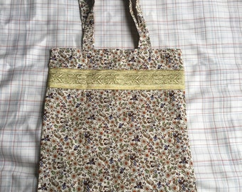 Cotton tote bag - flower design with gold band
