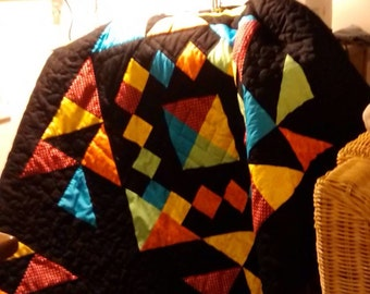 Handmade patchwork bed throw