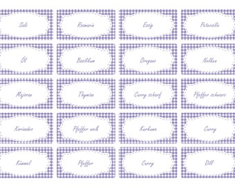 the label 65 x spice labels | Lavender Vichy design | Stock labels | Household labels
