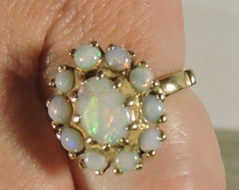 Opal Ring Vintage Right Hand Ring 11 Stones 14K Gold Size 5 3/4