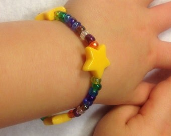 Rainbow Bracelet / Star Bracelet / Star Jewelry / Child Bracelet / Little Girl Bracelet / Little Girl Jewelry / Little Girl Gifts / Beaded
