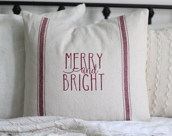 Merry and Bright Grain Sack Pillow Cover, Available in Red and Blue