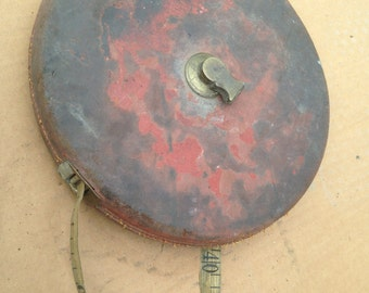 RARE: Decimetre vintage leather and brass and duct tape!