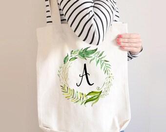 Leaf Monogram Wreath Tote Bag, Initial Tote Bag, Monogram Tote Bag, Custom Bridesmaid Tote Bag, Personalized Bridesmaid Tote, Canvas Tote