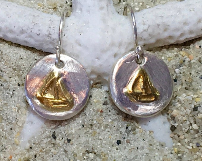 Sterling and Fine Silver 22K Gold Plated Sailboat Coin Earrings