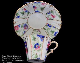 "Royal Albert teacup and saucer, ""Rosetime Chintz"", (c.) 1929-1935. Shape: Art Deco Royal"
