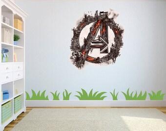 Marvel Avengers Logo 2 Wall Art Sticker/Decal Kids Bedroom/Playroom w55cm x h63cm