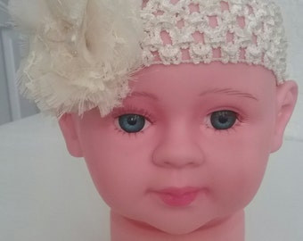 Little Girls Headband Ivory