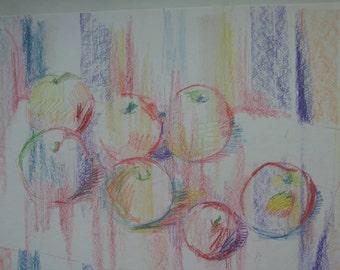Naturmort,apples on a sheet of paper.
