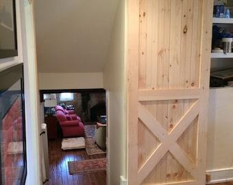 Beaded pine barn door