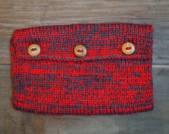 Knitted Book Pouch - Red & Grey