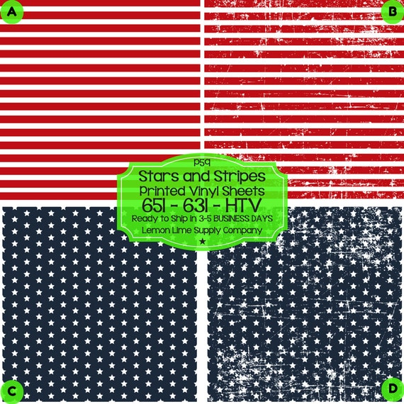Stars Amp Stripes Vinyl Printed Heat Transfer By