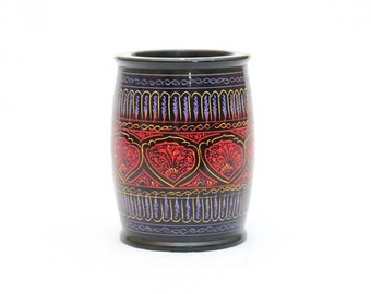 Hand carved painted wood vase
