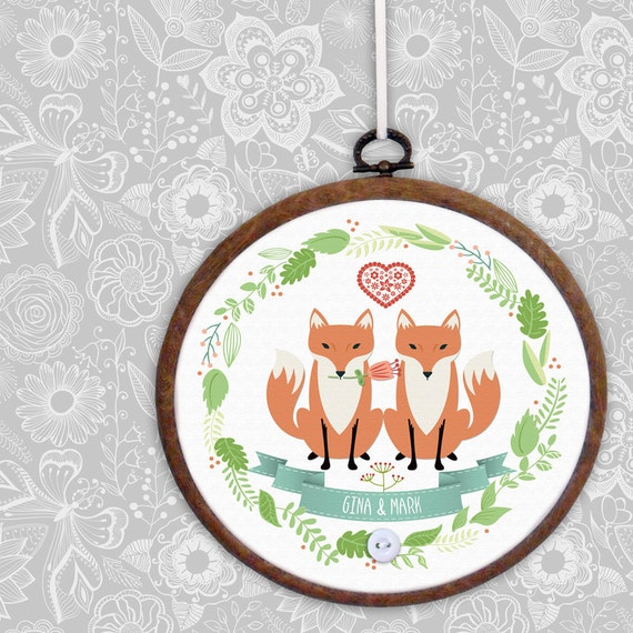 Personalised embroidery hoop personalized new baby gift