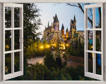 3D Window Hogwarts Wizarding World  Wall Decal