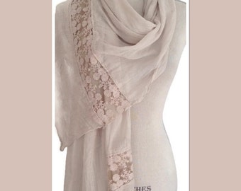 Beige Cotton Lace Style Pashmina Wrap Shawl Scarf Extra Long Extra Wide Gift Idea