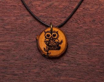 OWL, wood necklace, up to 3 cm, unique