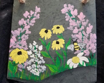 Hand painted slate, Garden flowers with bee