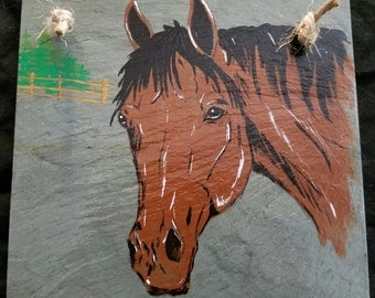hand painted slate, by horse