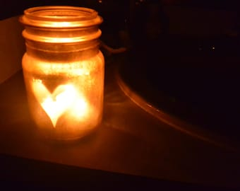 Golden Heart Mason Jar Candle