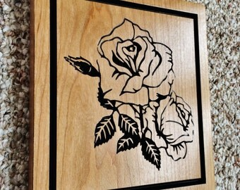 Wood Sign Roses Carved Wood Sign Wooden Sign Roses for Wedding Birthday gifts Home Cabin Signage Decor Cherry
