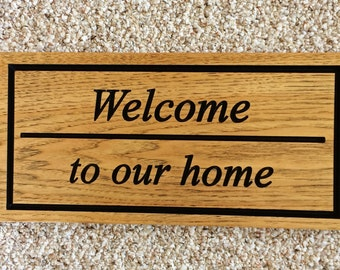 Vintage Sign Welcome to Our Home Sign Wood Welcome Sign for Front Door Gifts for Couple Housewarming Gift Rustic Wooden Decor Hickory