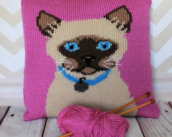 Knitting Pattern PDF Download - Siamese Cat Pet Portrait Pillow Cushion Cover