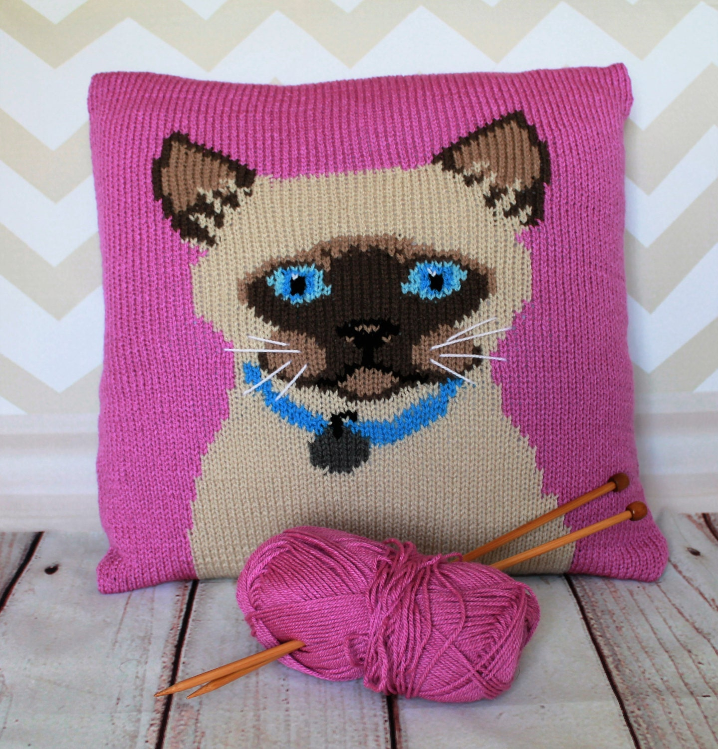 Knitting Pattern PDF Download - Siamese Cat Pet Portrait Pillow Cushion Cover...