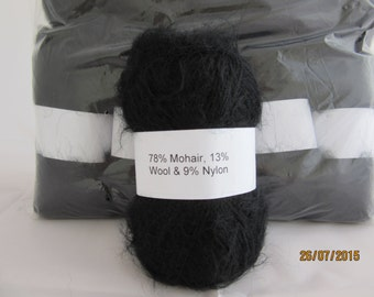 Black Mohair Yarn Mohair/Wool/Nylon 78/13/9 50g ball