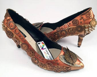 Steampunk Copper Custom Heels, Hand Painted Shoes