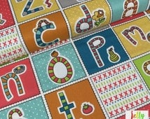 ORGANIC Cotton Fabric - ABC Patchwork from Picnic Whimsy Collection by Birch Fabrics - Sold by the Fat Quarter - UK Seller