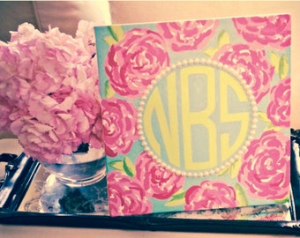 Preppy Lilly Pulitzer Monogram - Canvas Painting