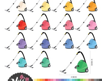 26 Colors Vacuum Cleaner Clipart - Instant Download